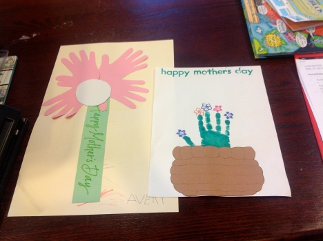 Avery's Mother's Day contributions from his two schools. ECSE on the left, and Goddard on the right. I think it is funny that they are both handprints made into flowers.