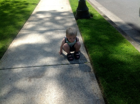 Avery was pretending to be a frog while waiting for Nik to come down from the max.