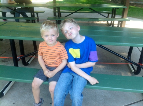 Avery wanted to go home, but the next best thing was to go into the house, which was a picnic shelter.